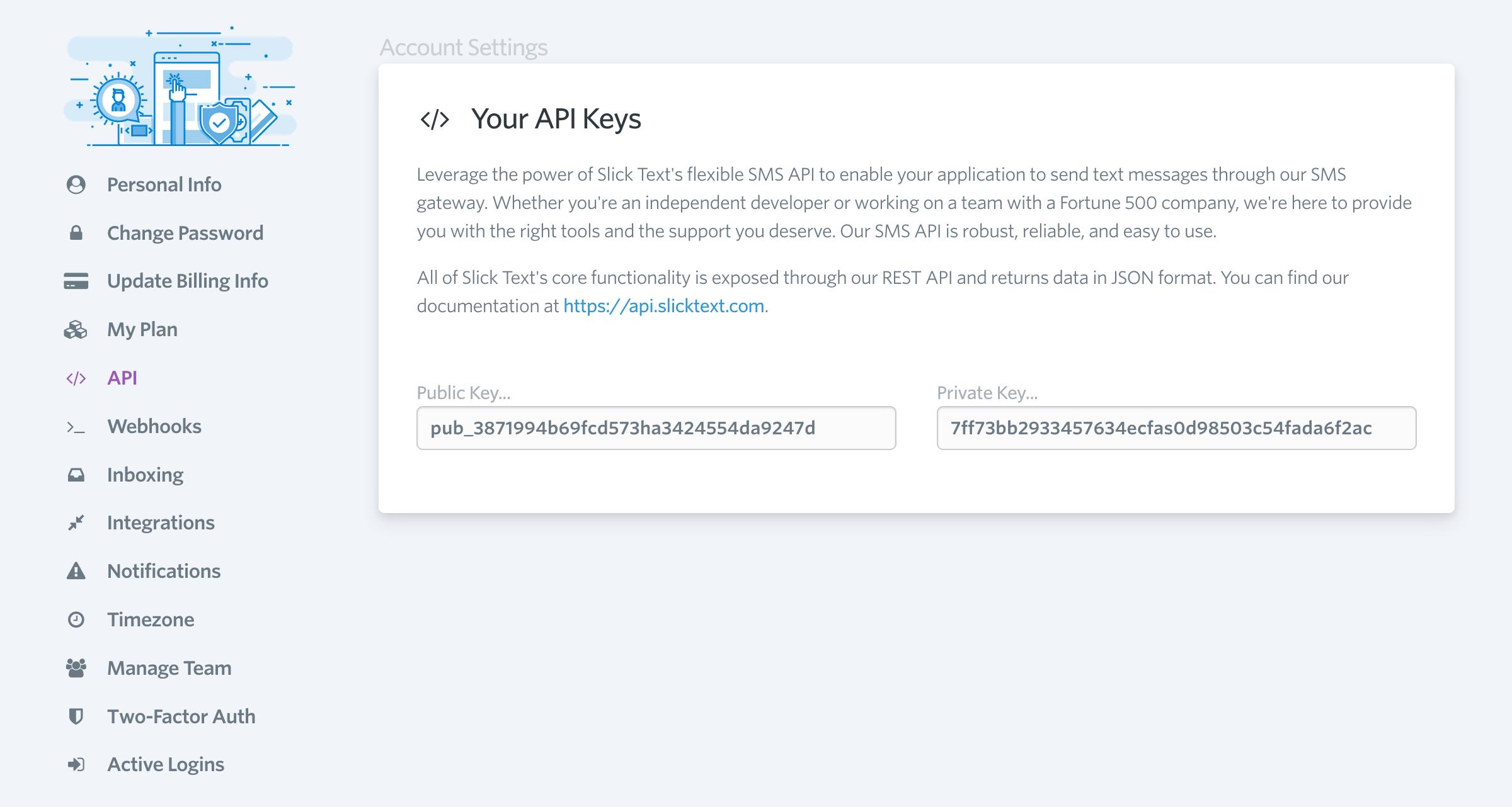 SlickText API Key in account