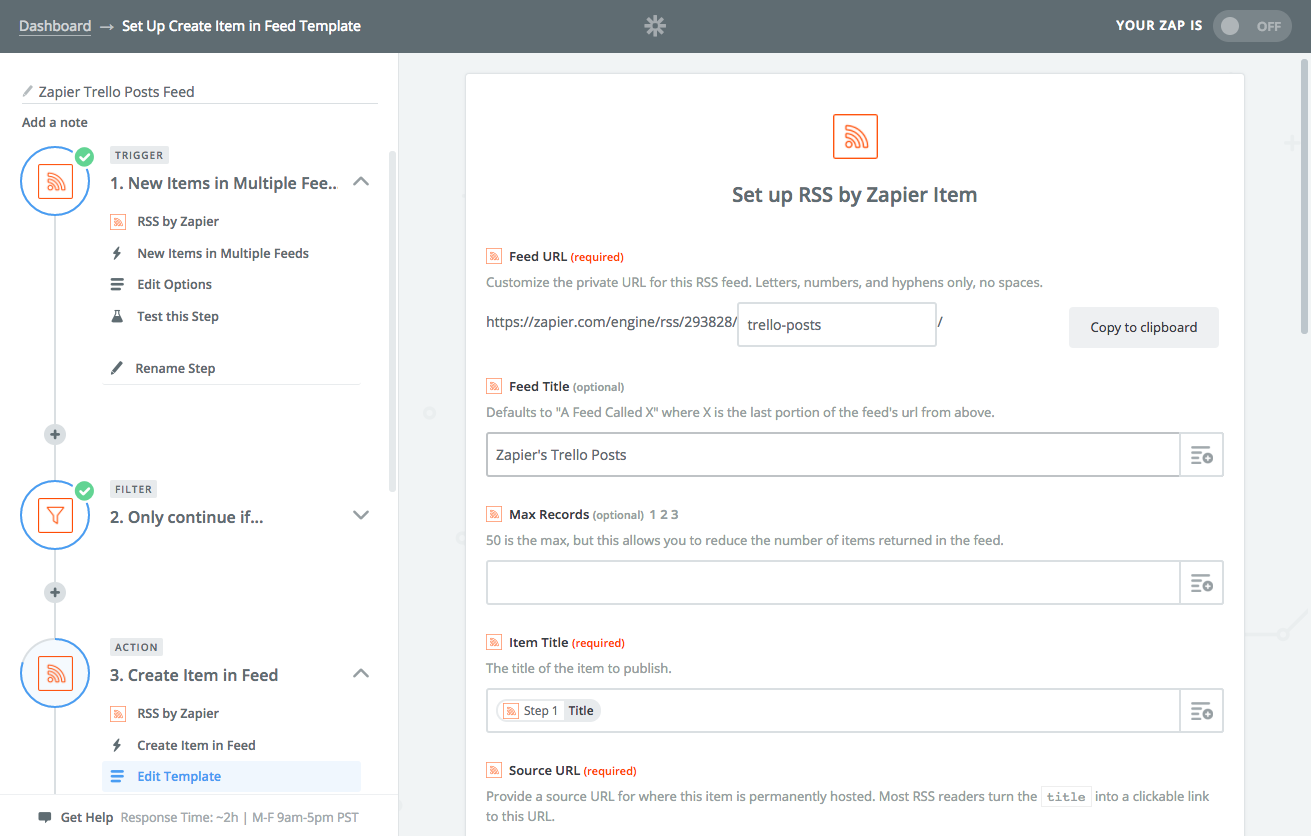 Create new RSS Feed in Zapier