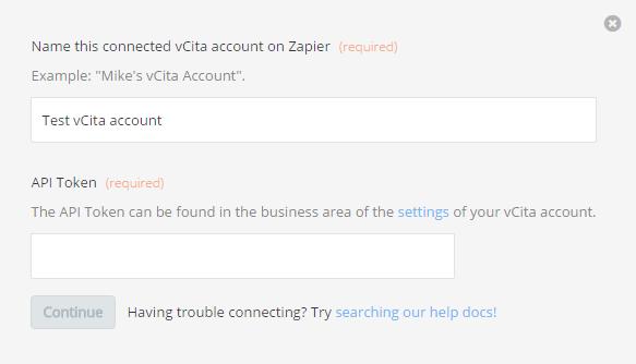 vCita  API Token