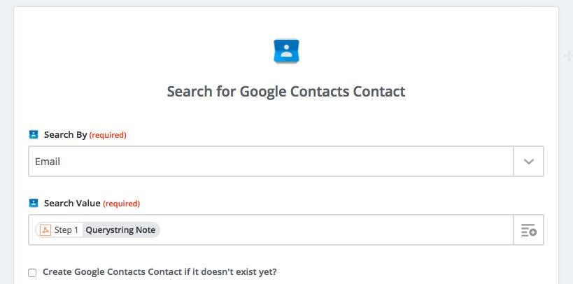 Zapier Google Contacts lookup