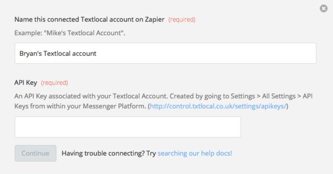 Textlocal API Key