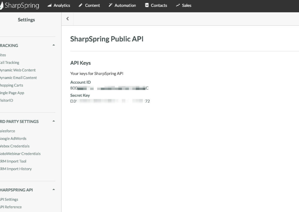 SharpSpring API Key in APP account