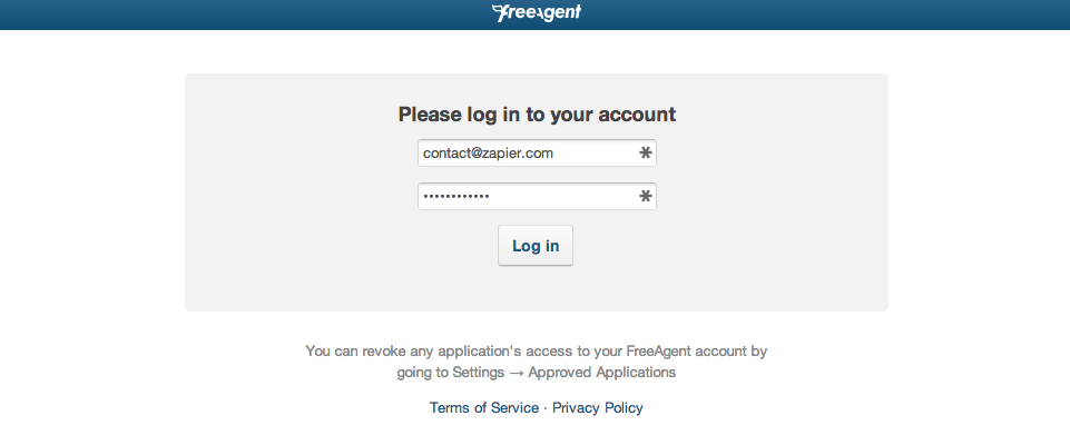 Log in to authorize your FreeAgent account