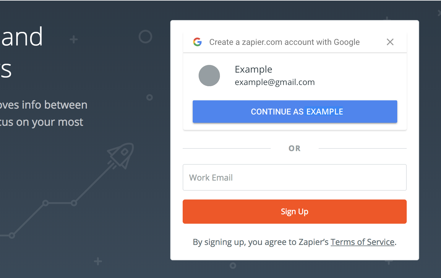 Zapier homepage with Google One Tap showing example@gmail.com account