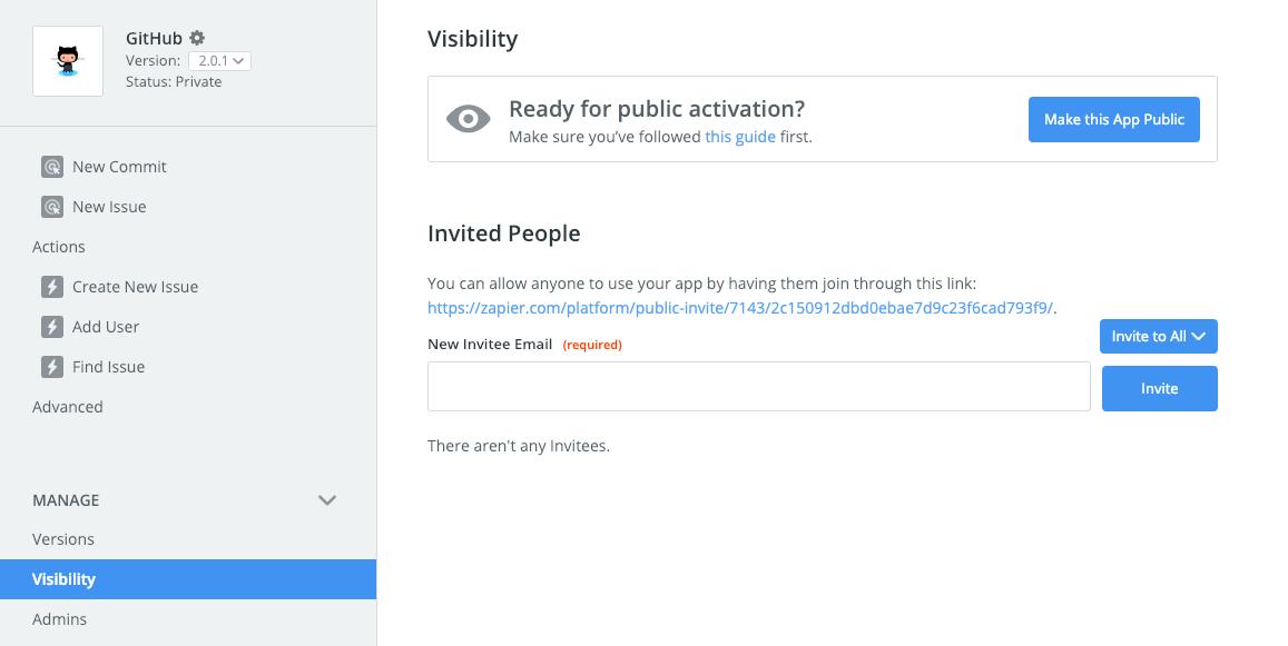 Zapier integration visibility