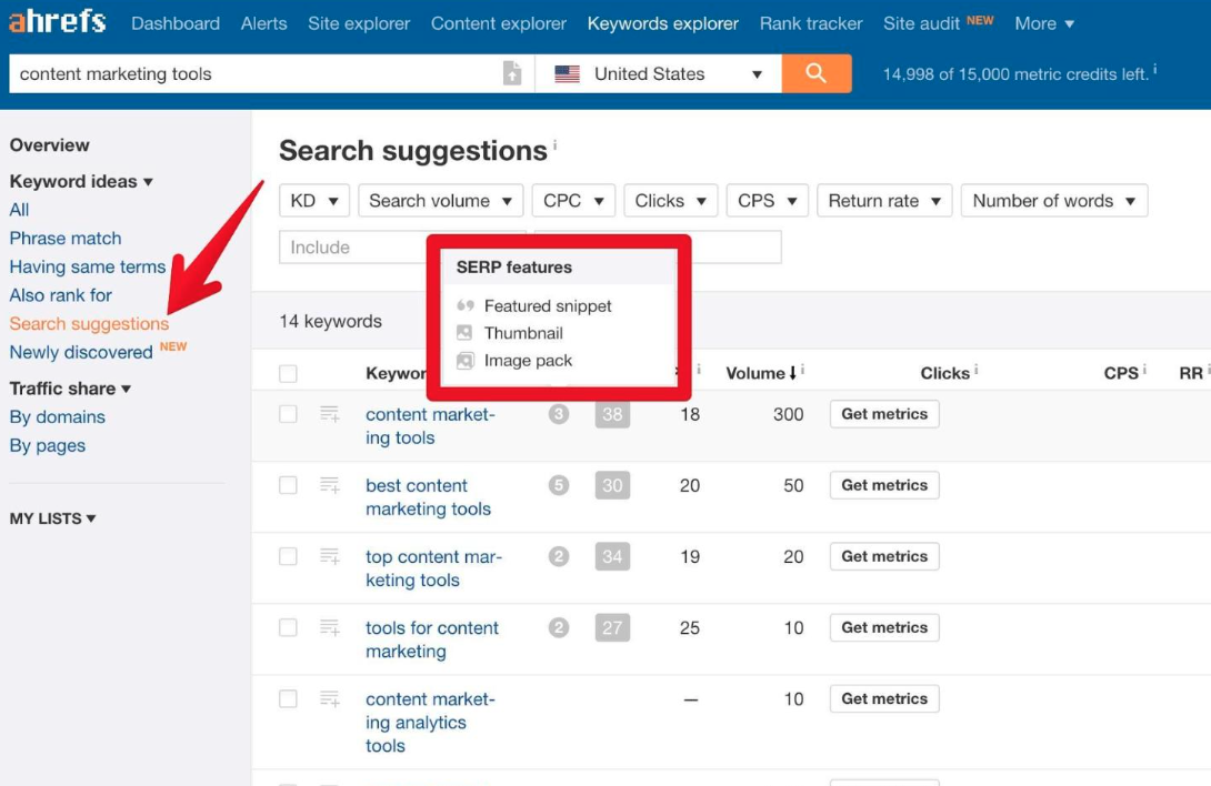 ahrefs search suggestions