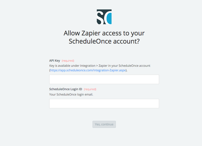 enter ScheduleOnce login ID and key