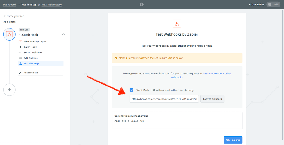 Copy Webhooks URL from Zapier
