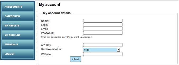 Assessment Generator API Key in APP account