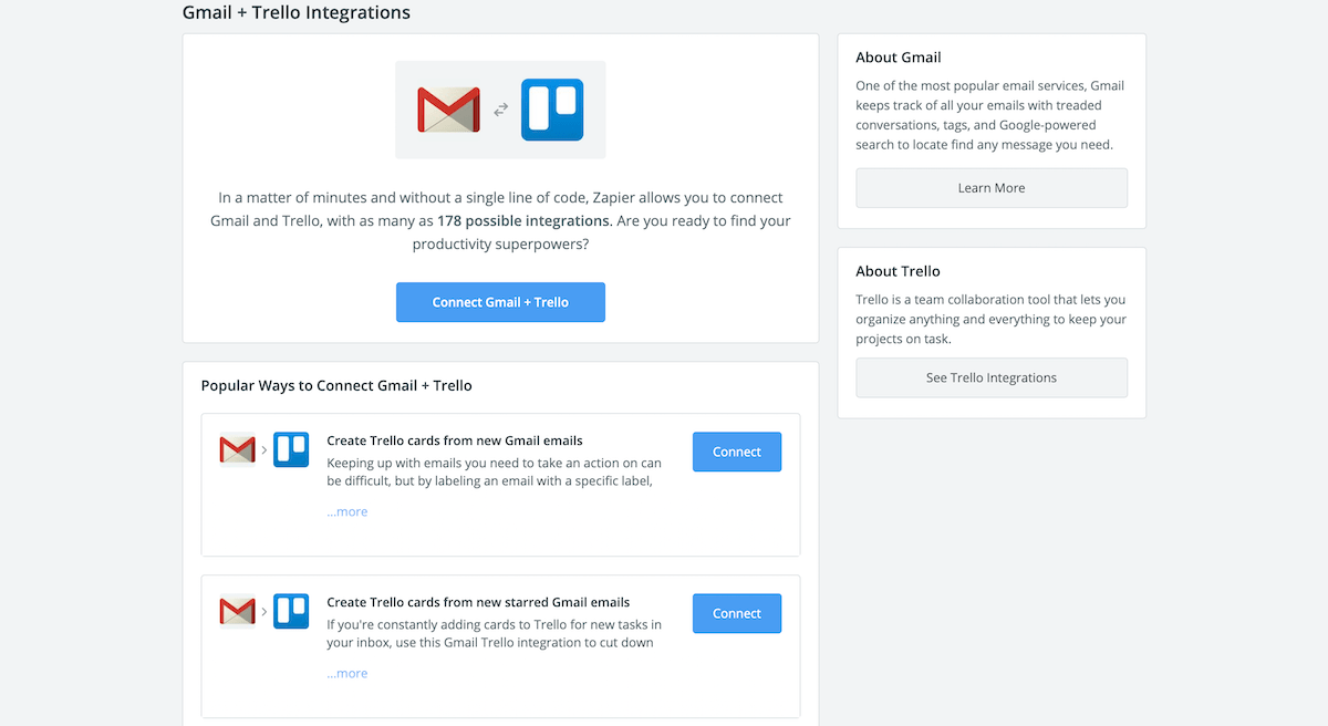 Zapier App Directory two-app page