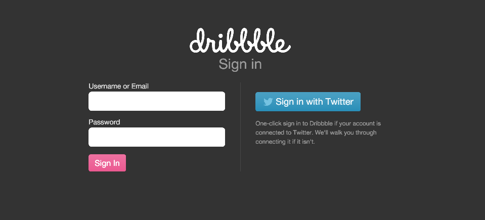 Login to your Dribbble accout.