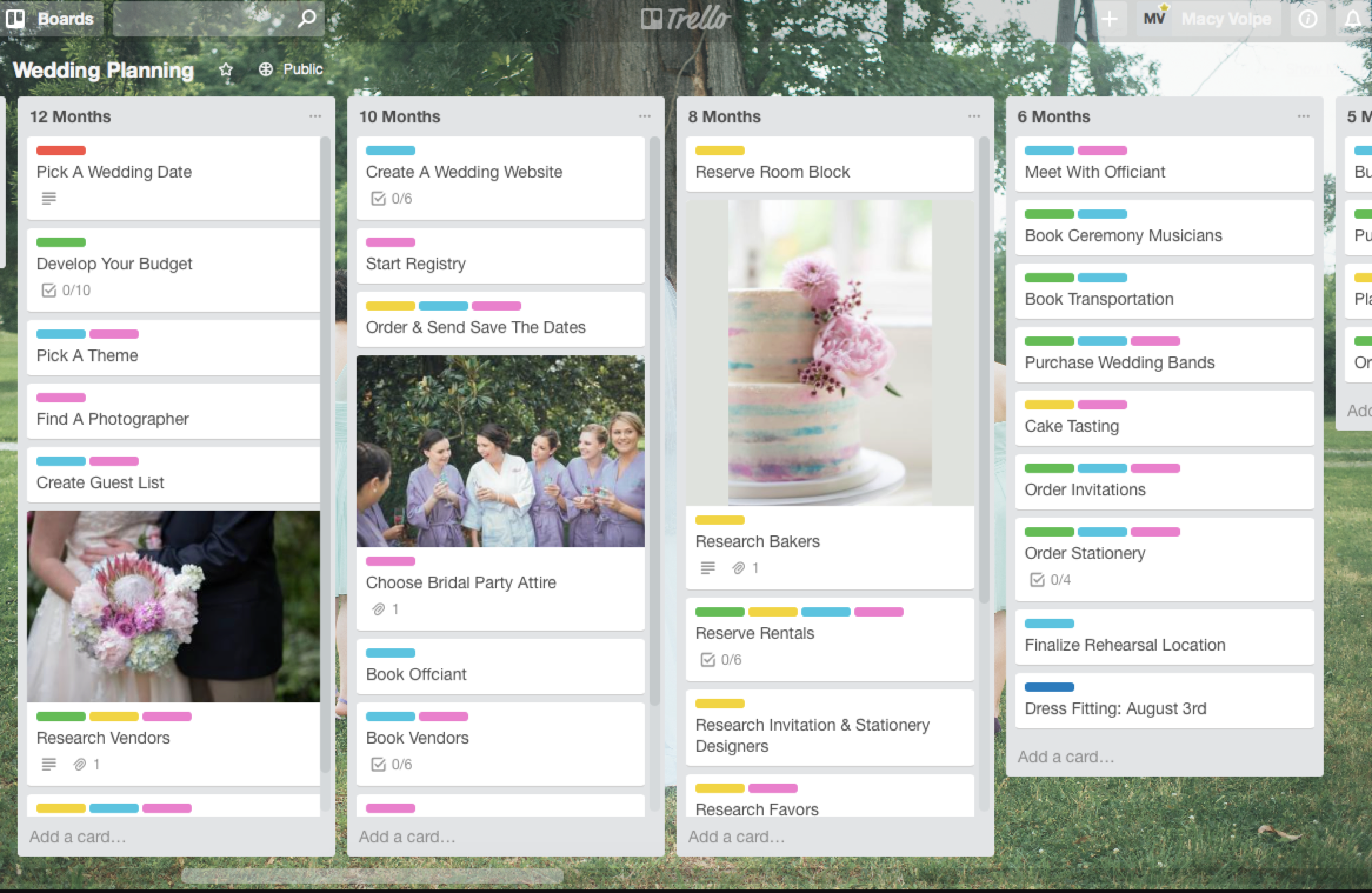 Trello wedding planning board