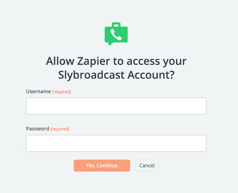 Slybroadcast username and password