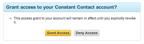 Authorize your Constant Contact account