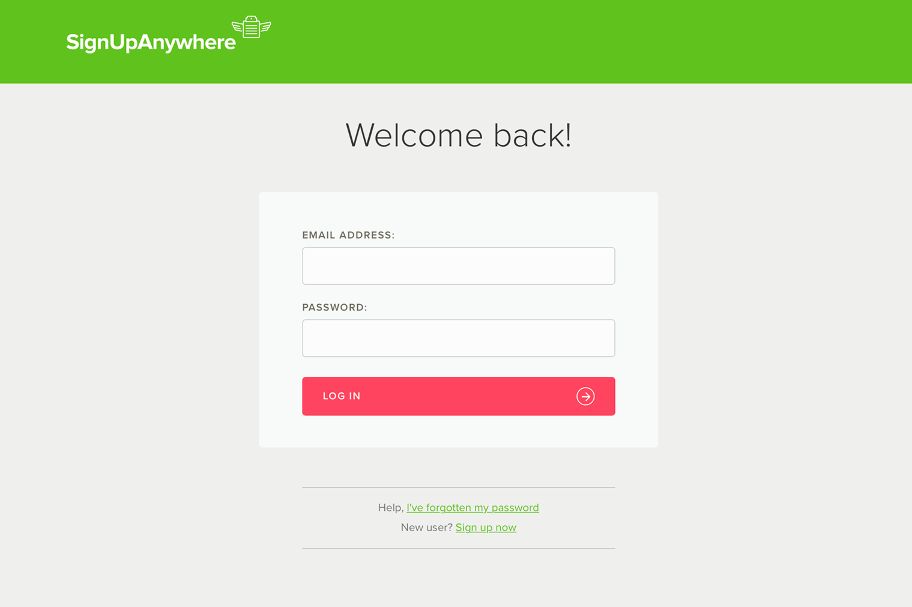 Login to SignUpAnywhere