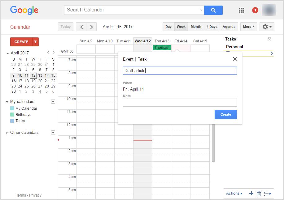 Add tasks to Google Calendar