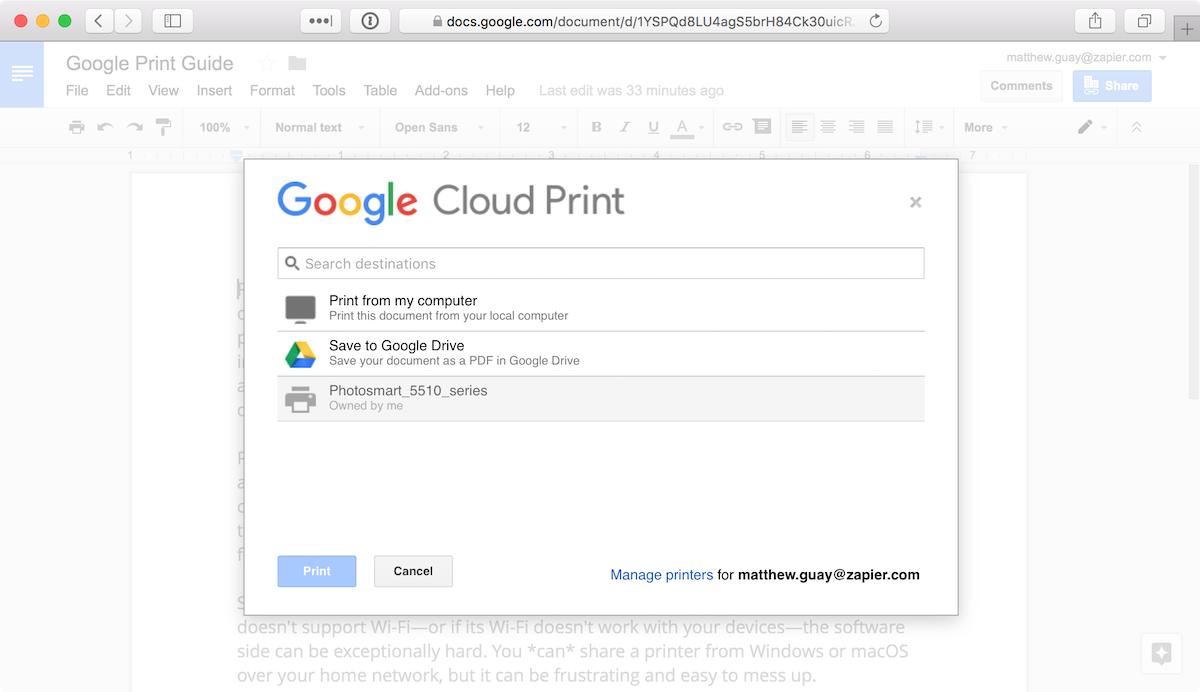 pdf wants to save instead of print