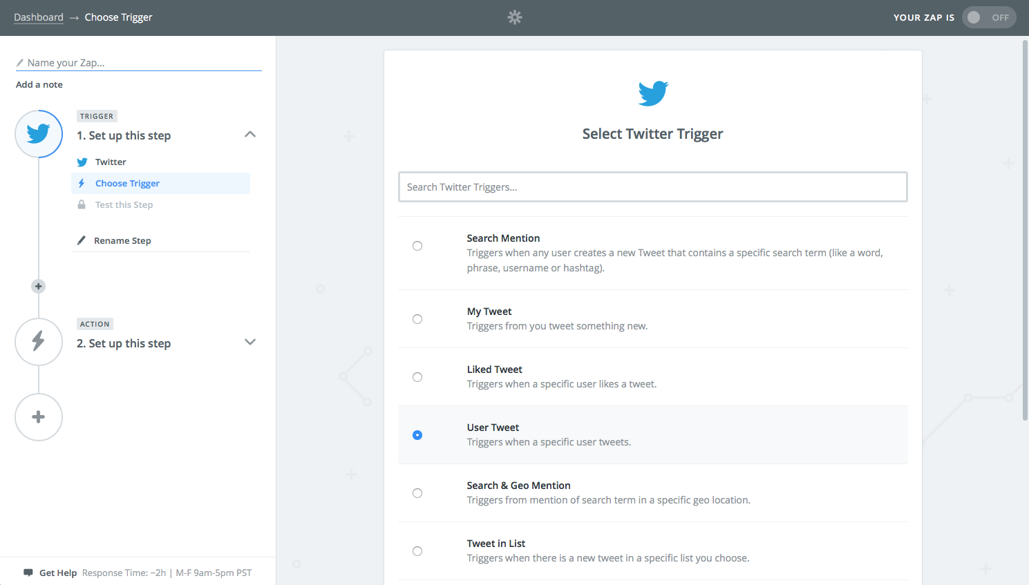 Create Twitter RSS feed in Zapier