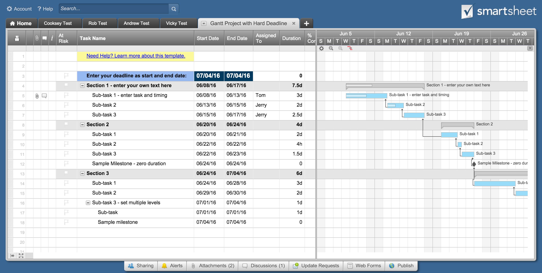 Project management gantt chart excel template 2