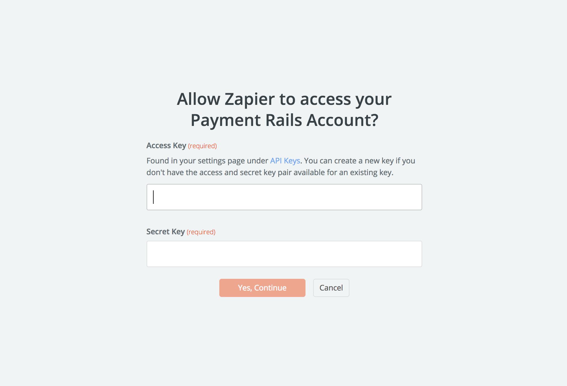 Payment Rails API Key