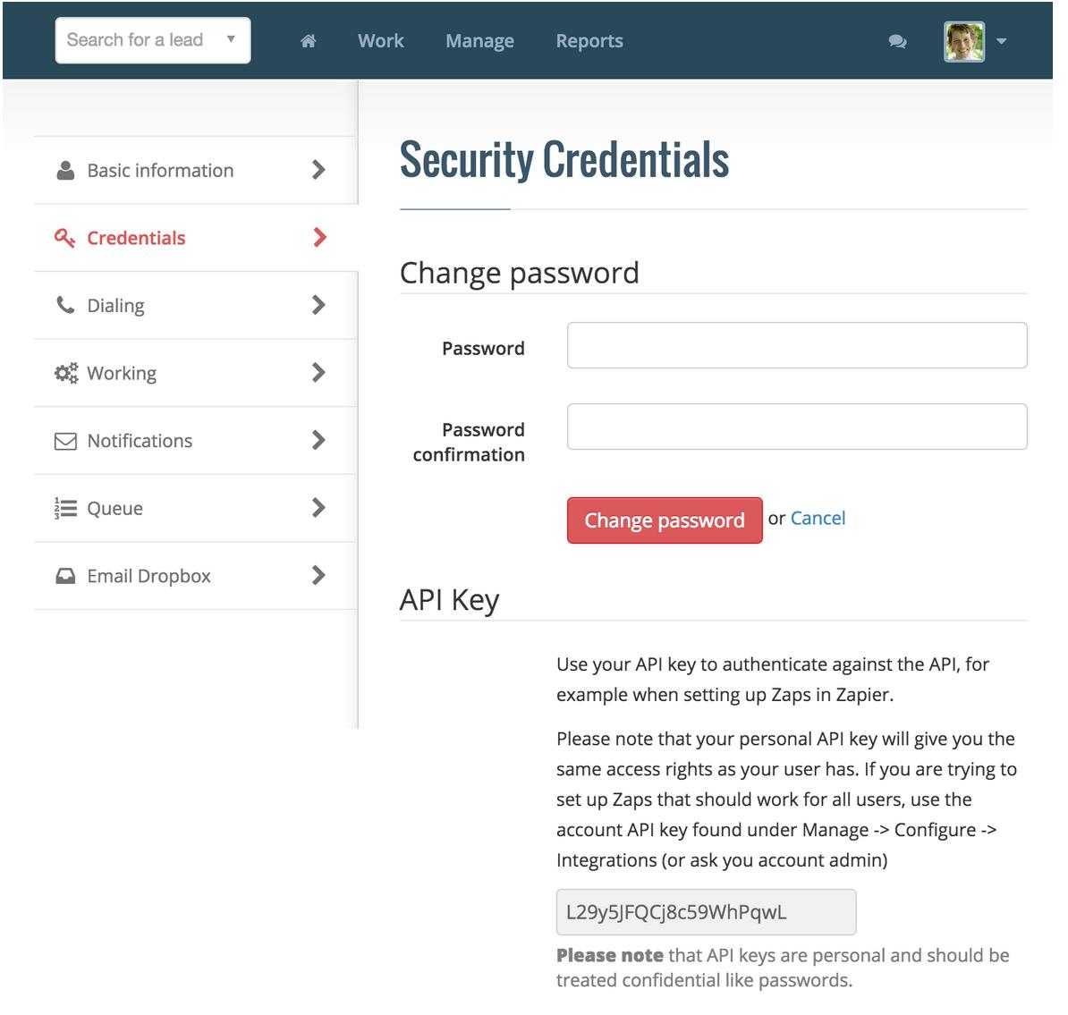 Myphoner personal API Key in Myphoner account