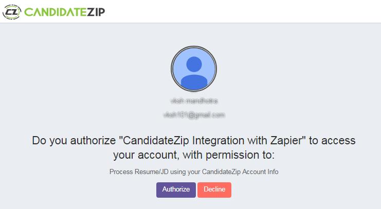 Authorize CandidateZip on Zapier