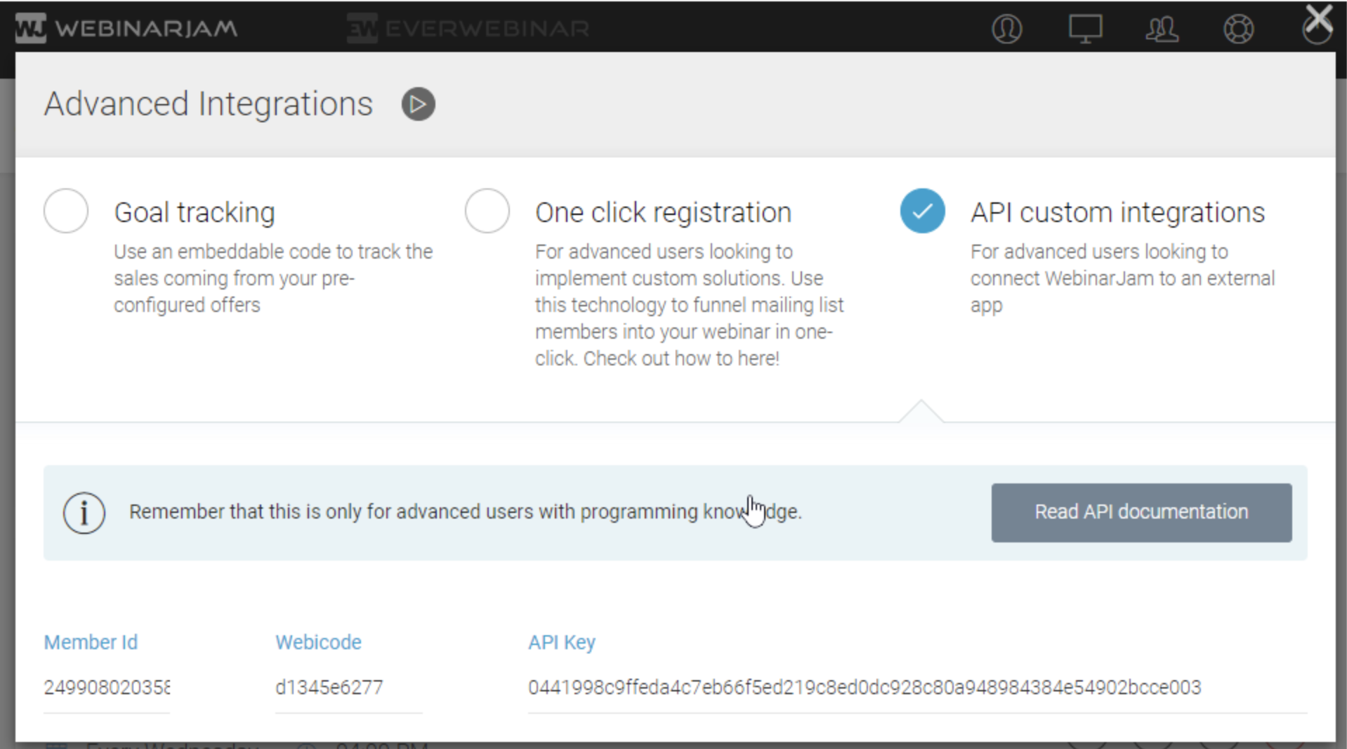 WebinarJam API Key in account