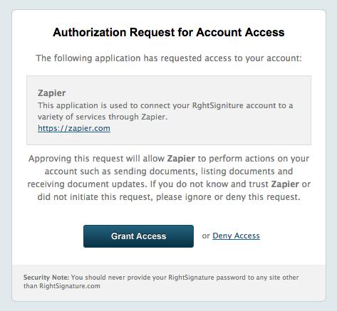 Authorize RightSignature on Zapier