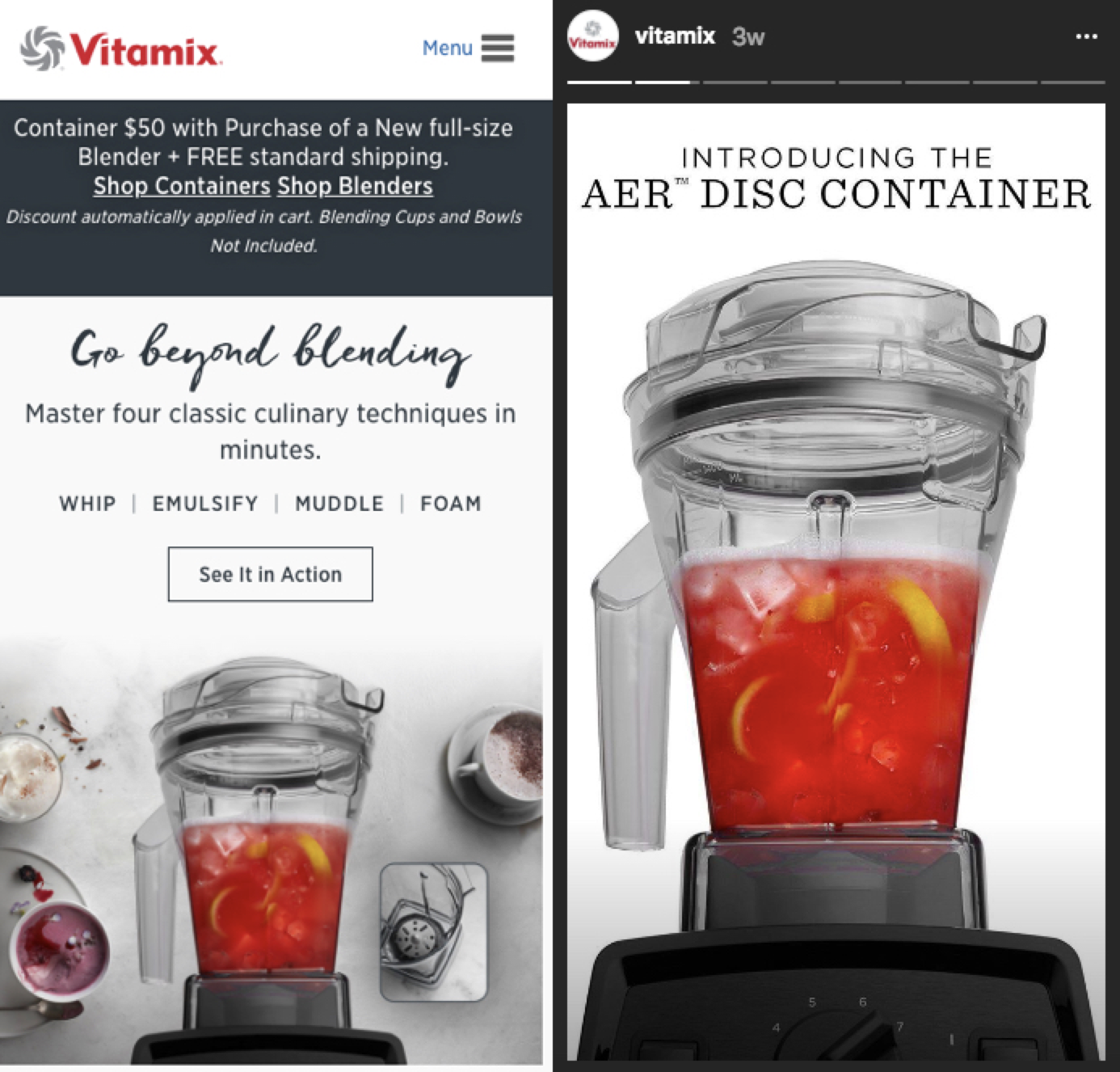 Vitamix Instagram post showing off new product