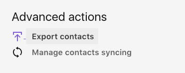 Under Advanced actions, Export contacts.