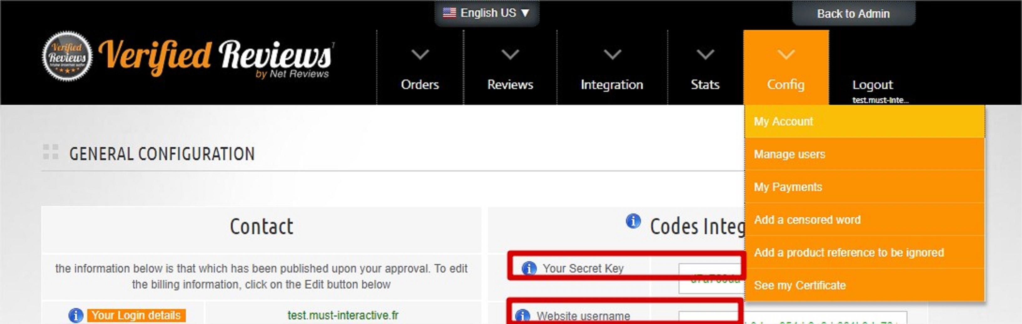 Verified Reviews API Key in account