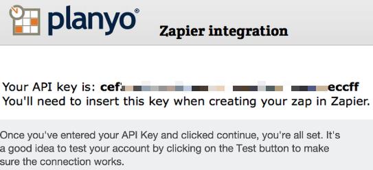 API key to use in Zapier