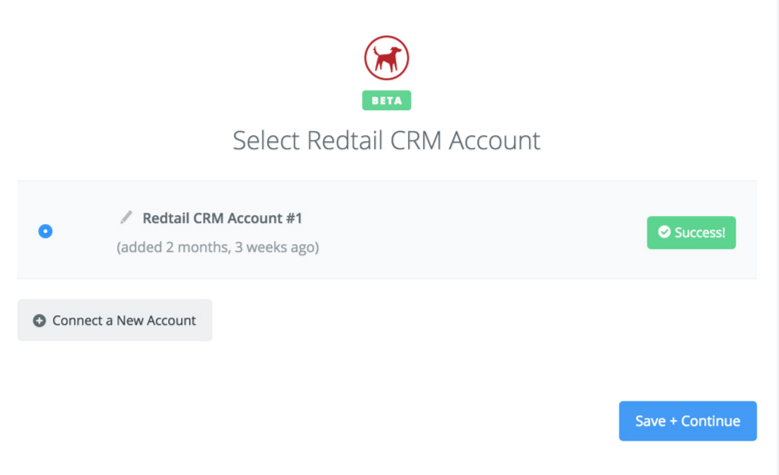 Redtail CRM connection successfull