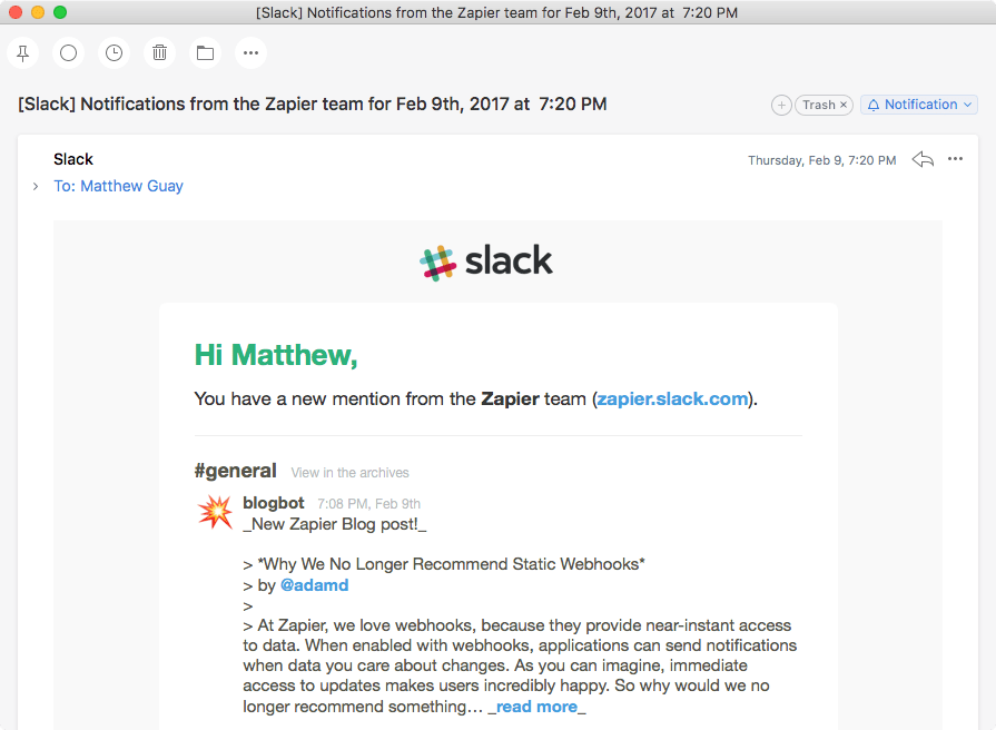 Slack Email Notifications