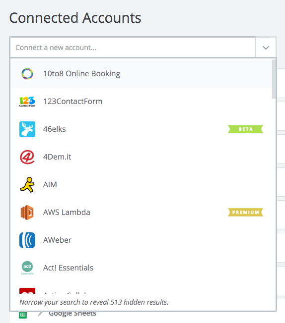 Connected Accounts dropdown