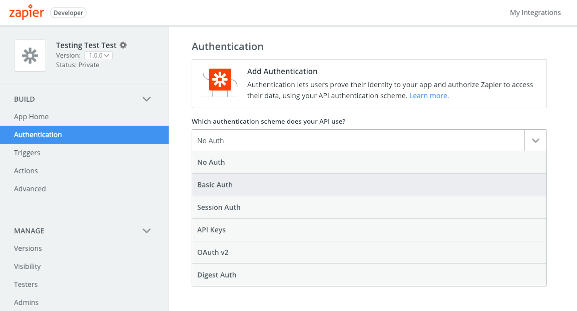 Add Basic Auth to Zapier integration