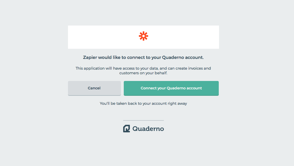 Authorize Quaderno on Zapier