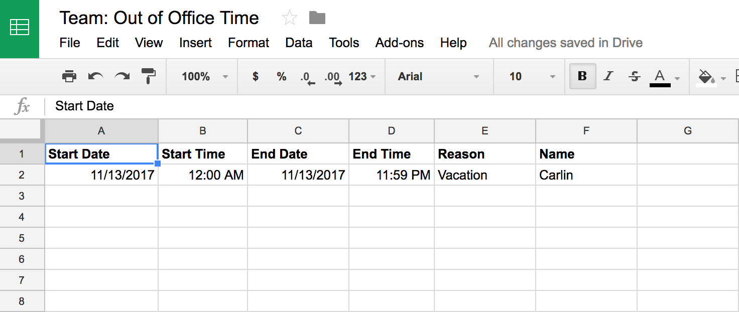 Set up your Google Sheet with headers and sample data