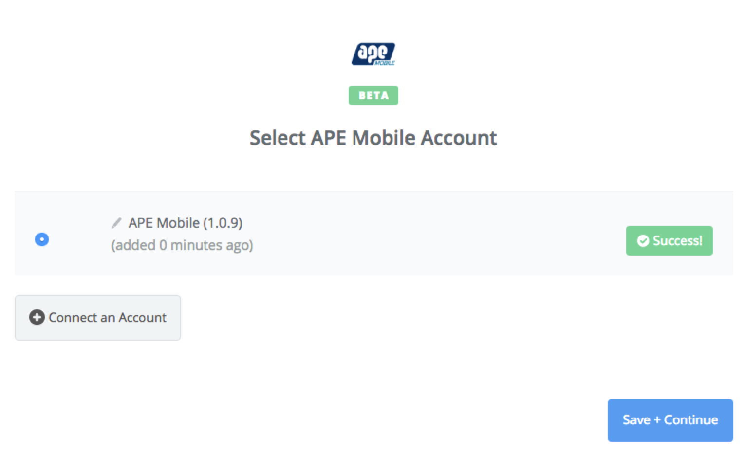 APE Mobile connection successfull