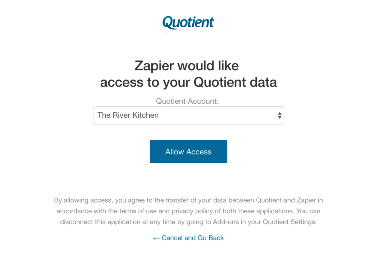 Authorize Quotient on Zapier
