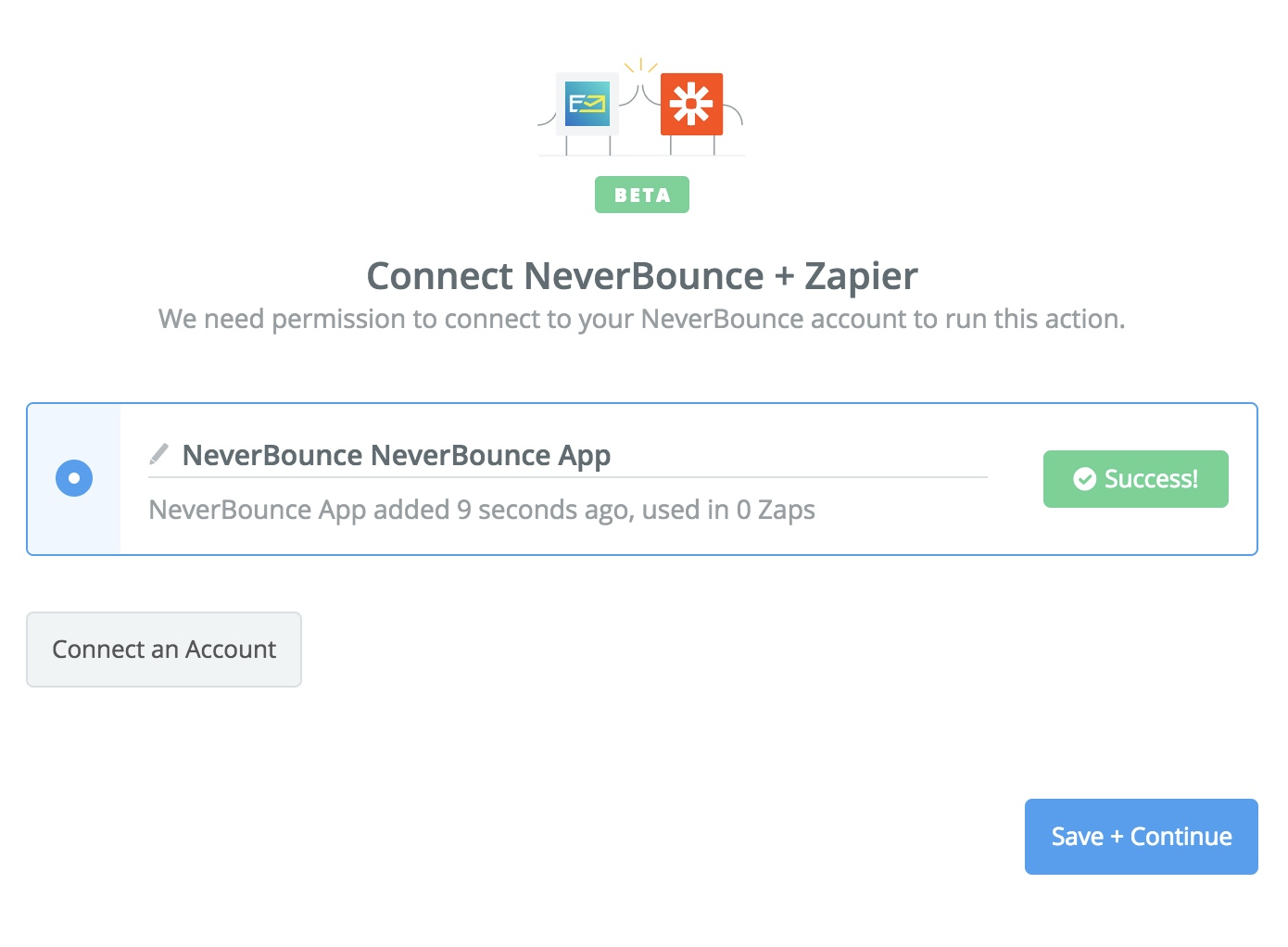 NeverBounce connection successful