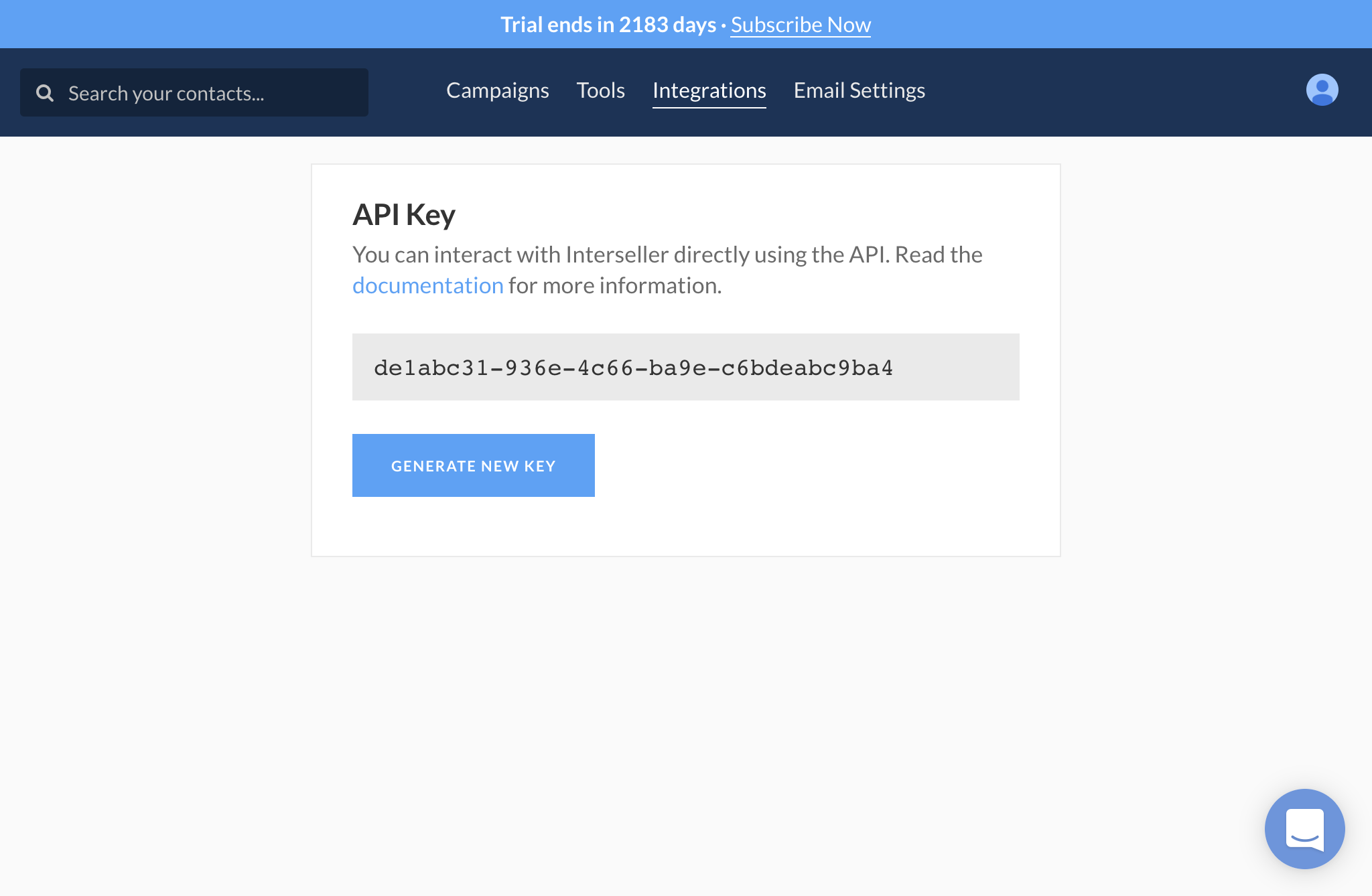 Interseller API Key in account