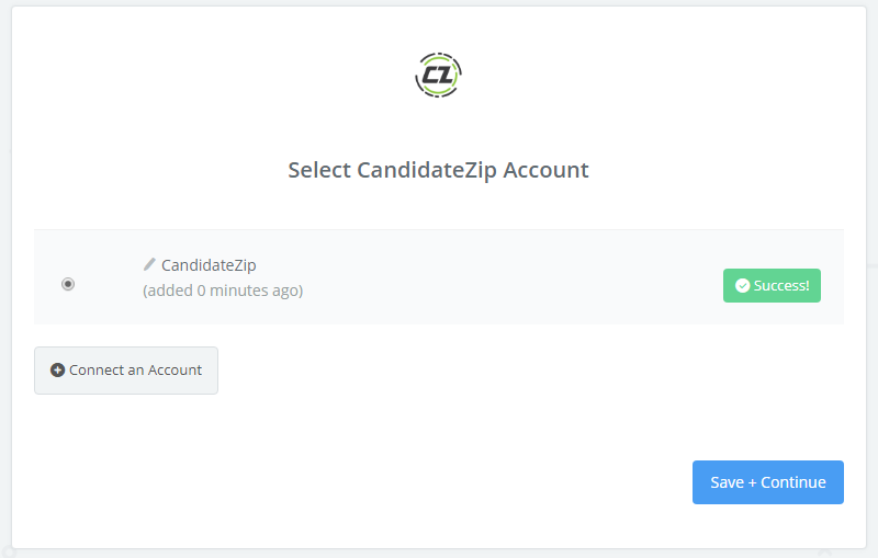 CandidateZip connection successfull