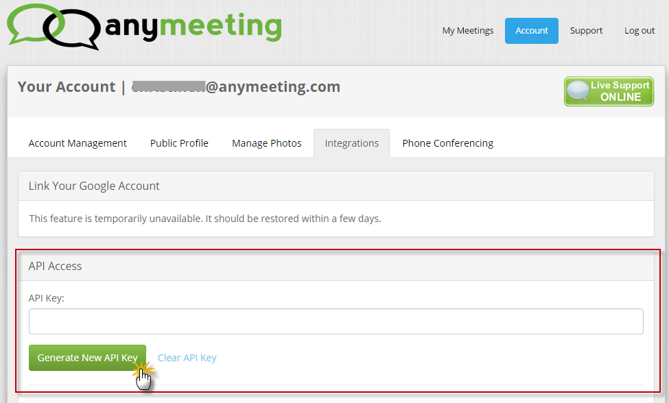 Generate and copy your AnyMeeting API Key