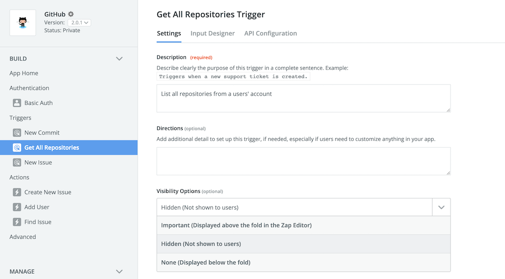 Zapier hidden trigger setting