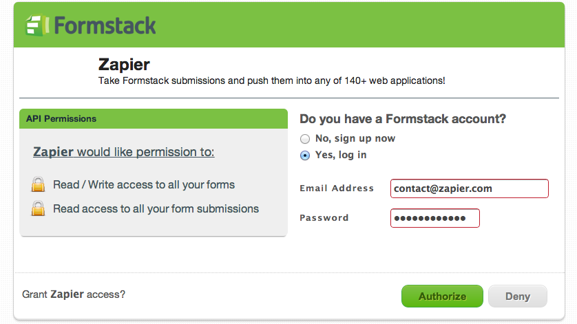 Log into Formstack and authorize