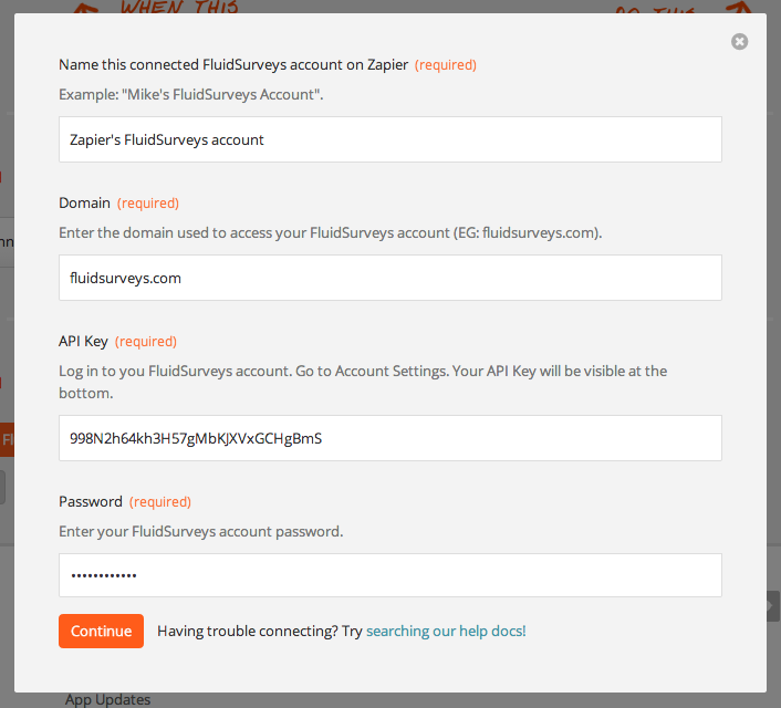 Enter your FluidSurveys API key into Zapier.