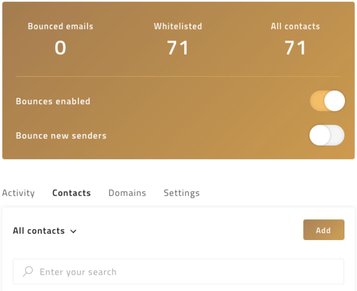 Whitelisting specific senders