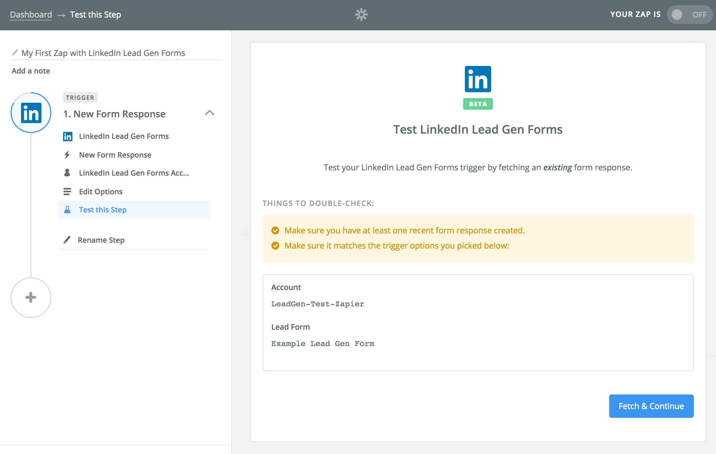 LinkedIn Lead Gen Forms Zapier Testing