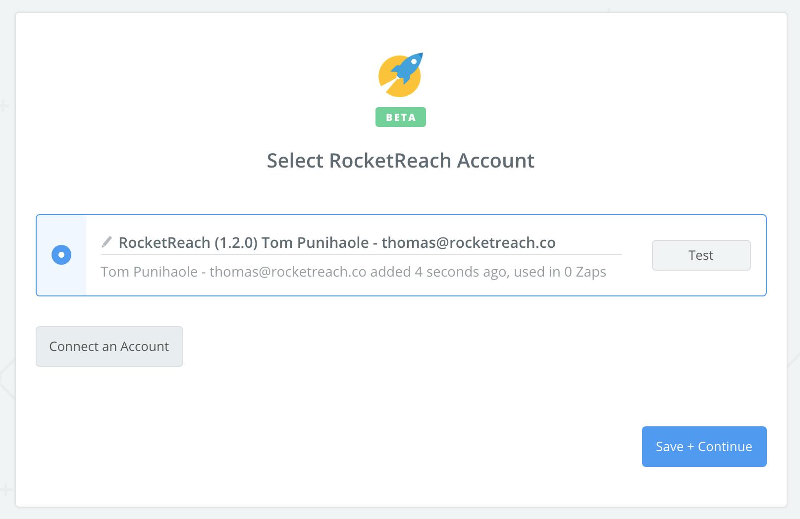 RocketReach connection successful